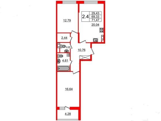 2-комнатная квартира №66 в: Притяжение: 69.33 м²; этаж: 7 - купить в Санкт-Петербурге