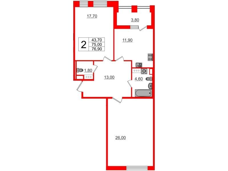 2-комнатная квартира, 75 м²; этаж: 10 - купить в Санкт-Петербурге