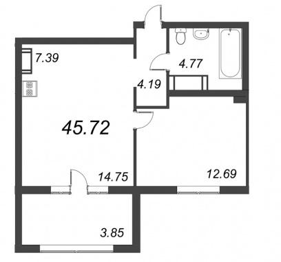 1-комнатная квартира, 45.72 м²; этаж: 4 - купить в Санкт-Петербурге