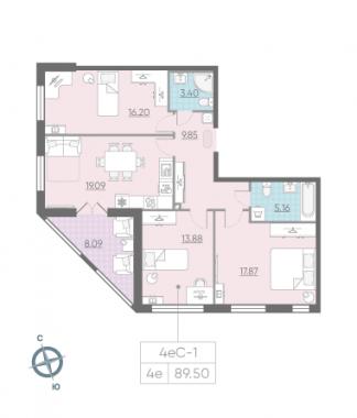 4-комнатная квартира, 89.5 м²; этаж: 2 - купить в Санкт-Петербурге