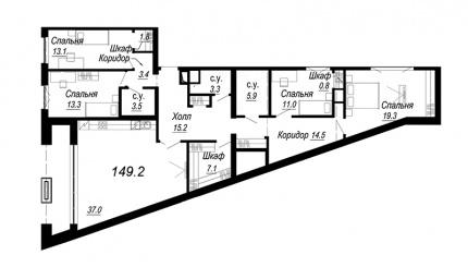 3-комнатная квартира, 149.2 м²; этаж: 5 - купить в Санкт-Петербурге