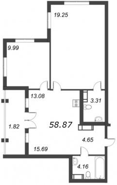 2-комнатная квартира №72 в: ID Moskovskiy: 58.87 м²; этаж: 10 - купить в Санкт-Петербурге