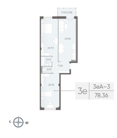 2-комнатная квартира №17А в: Neva Residence: 78.36 м²; этаж: 5 - купить в Санкт-Петербурге