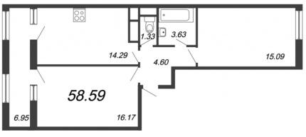 2-комнатная квартира, 58.59 м²; этаж: 8 - купить в Санкт-Петербурге