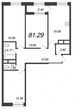 3-комнатная квартира, 81.29 м²; этаж: 11 - купить в Санкт-Петербурге