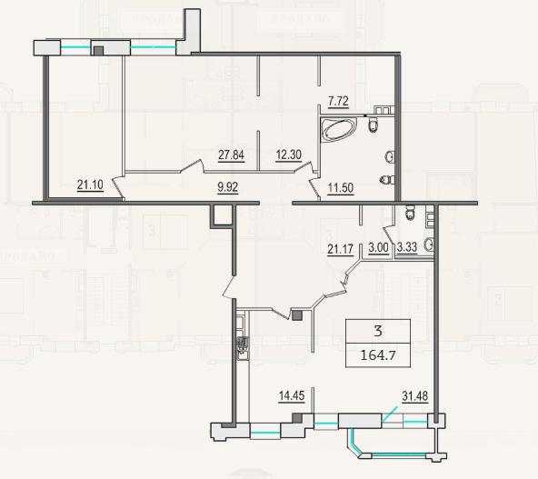 3-комнатная квартира №9 в: 4-я Советская, 9: 163.7 м²; этаж: 4 - купить в Санкт-Петербурге