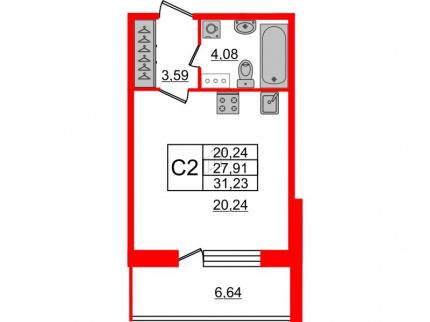 1-комнатная квартира №66 в: Притяжение: 27.91 м²; этаж: 8 - купить в Санкт-Петербурге