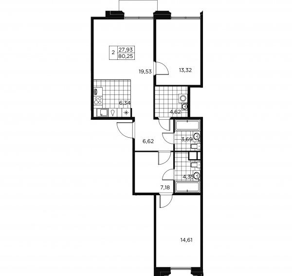 2-комнатная квартира, 80.25 м²; этаж: 6 - купить в Санкт-Петербурге