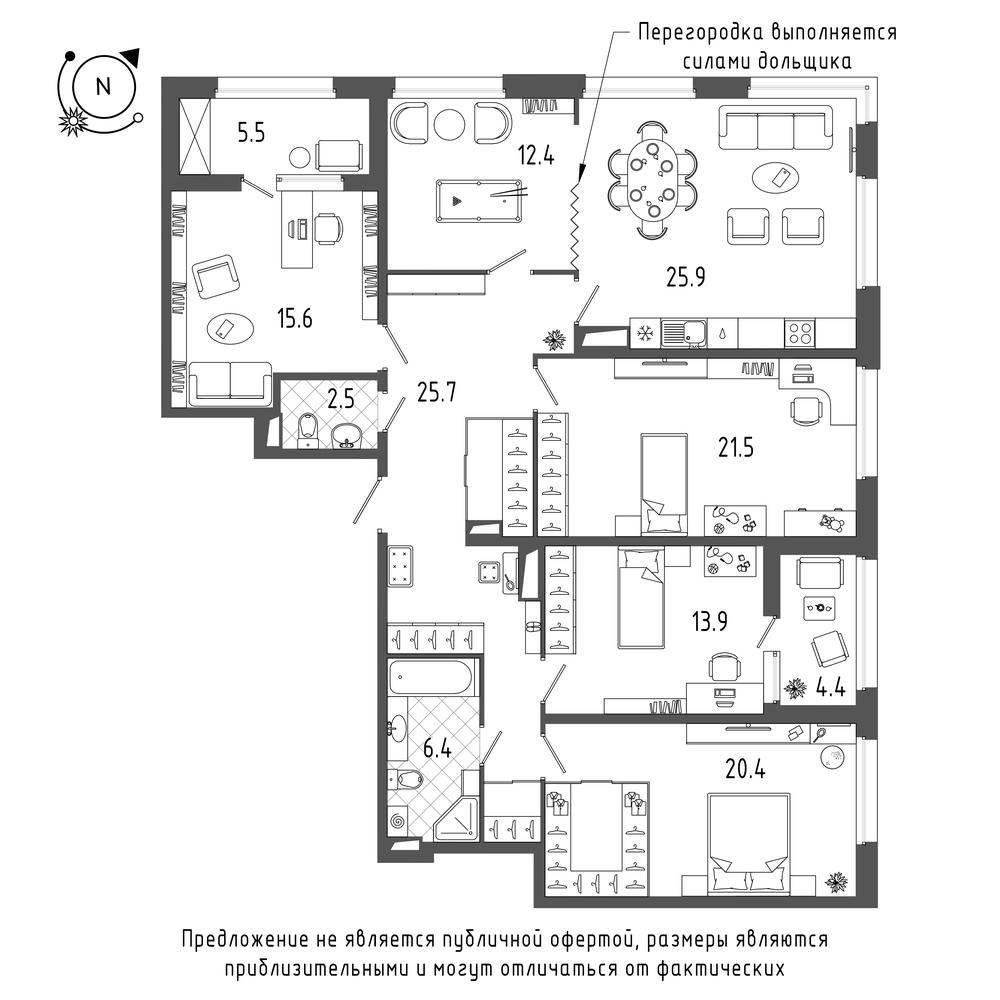 5-комнатная квартира, 149.3 м²; этаж: 10 - купить в Санкт-Петербурге