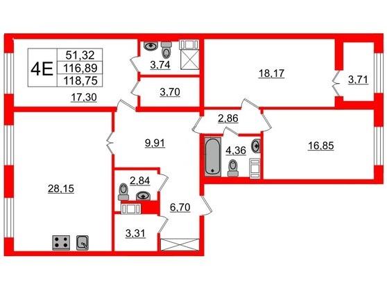 3-комнатная квартира, 117.7 м²; этаж: 8 - купить в Санкт-Петербурге