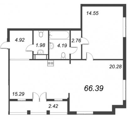 1-комнатная квартира №72 в: ID Moskovskiy: 66.39 м²; этаж: 9 - купить в Санкт-Петербурге