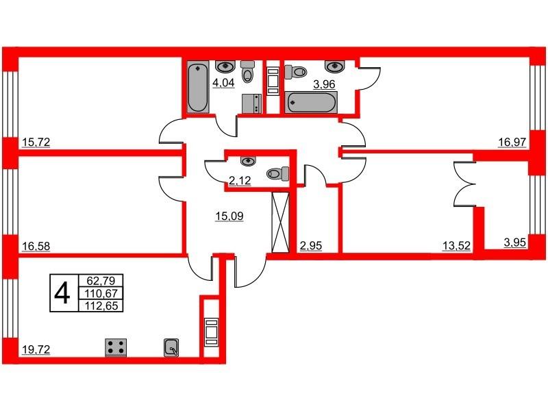 4-комнатная квартира, 110.67 м²; этаж: 6 - купить в Санкт-Петербурге