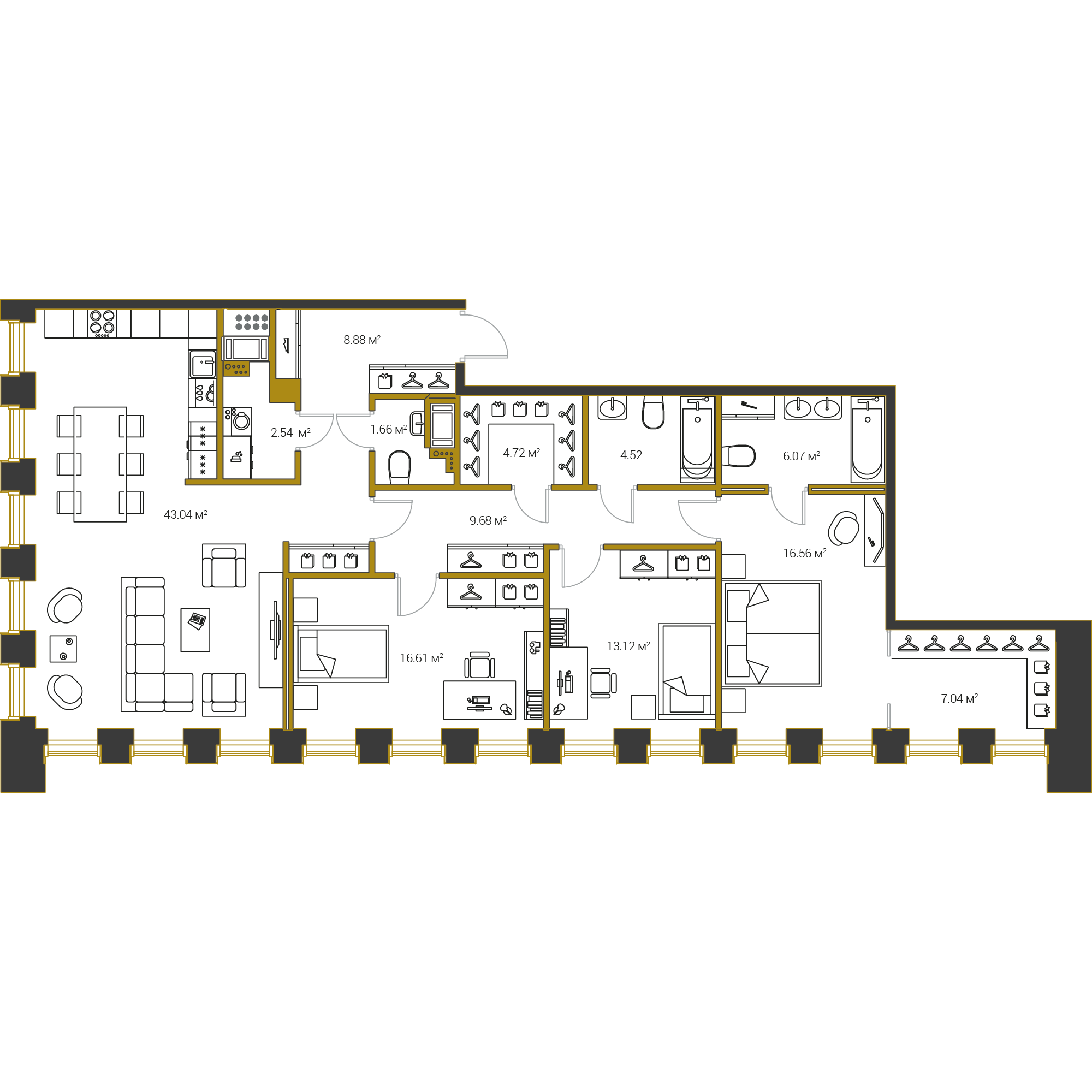 3-комнатная квартира №16 в: Институтский,16: 134.44 м²; этаж: 16 - купить в Санкт-Петербурге