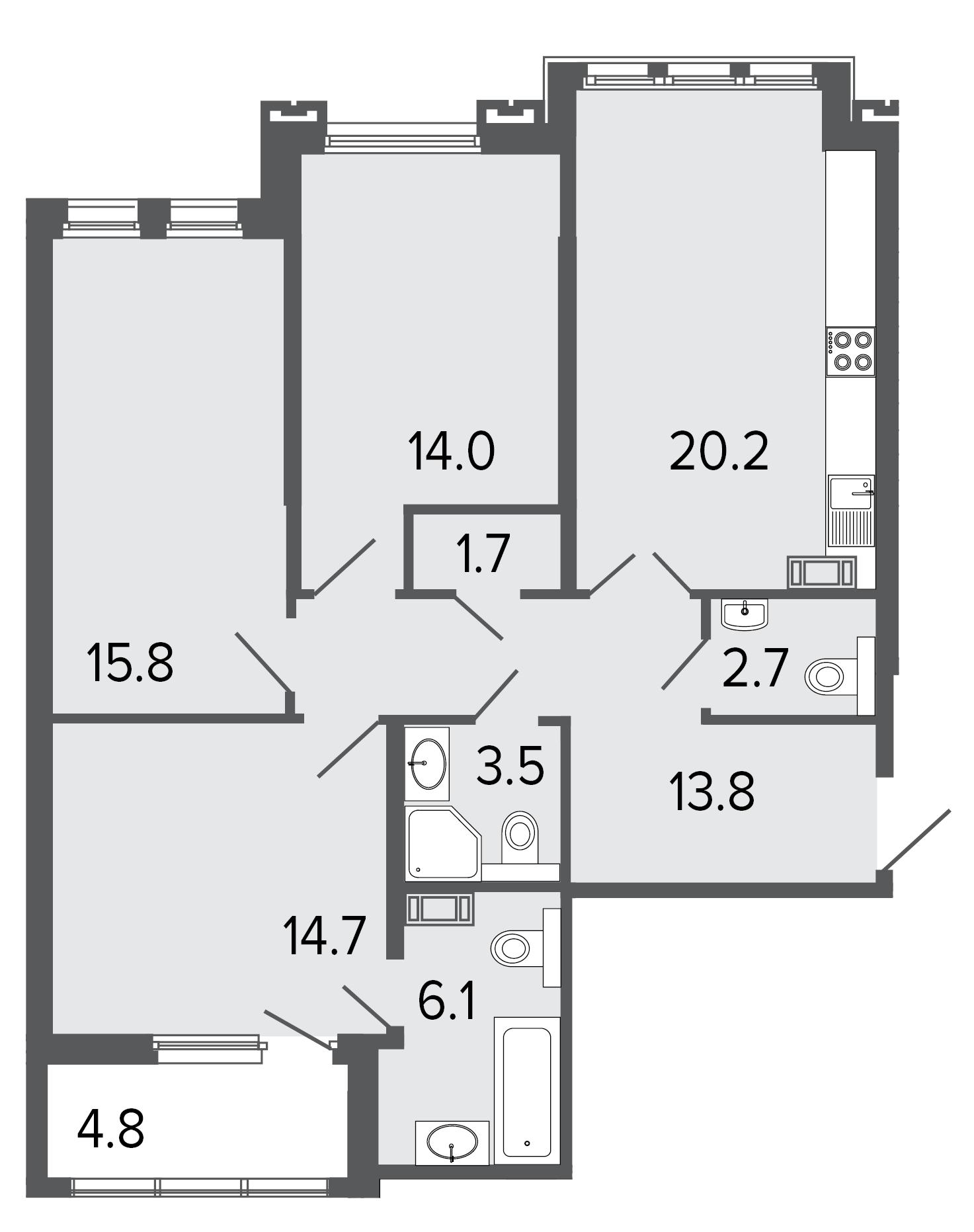 3-комнатная квартира, 92.5 м²; этаж: 6 - купить в Санкт-Петербурге