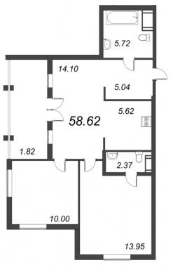 2-комнатная квартира №72 в: ID Moskovskiy: 58.62 м²; этаж: 10 - купить в Санкт-Петербурге