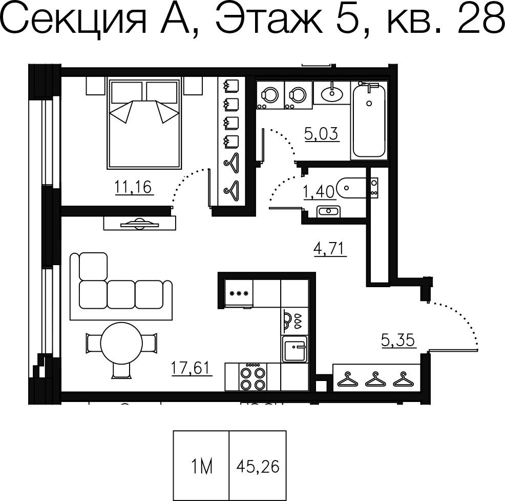 1-комнатная квартира №68 в: Малоохтинский 68: 46.34 м²; этаж: 5 - купить в Санкт-Петербурге