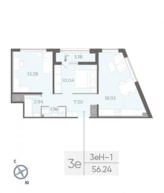 2-комнатная квартира, 56.24 м²; этаж: 10 - купить в Санкт-Петербурге