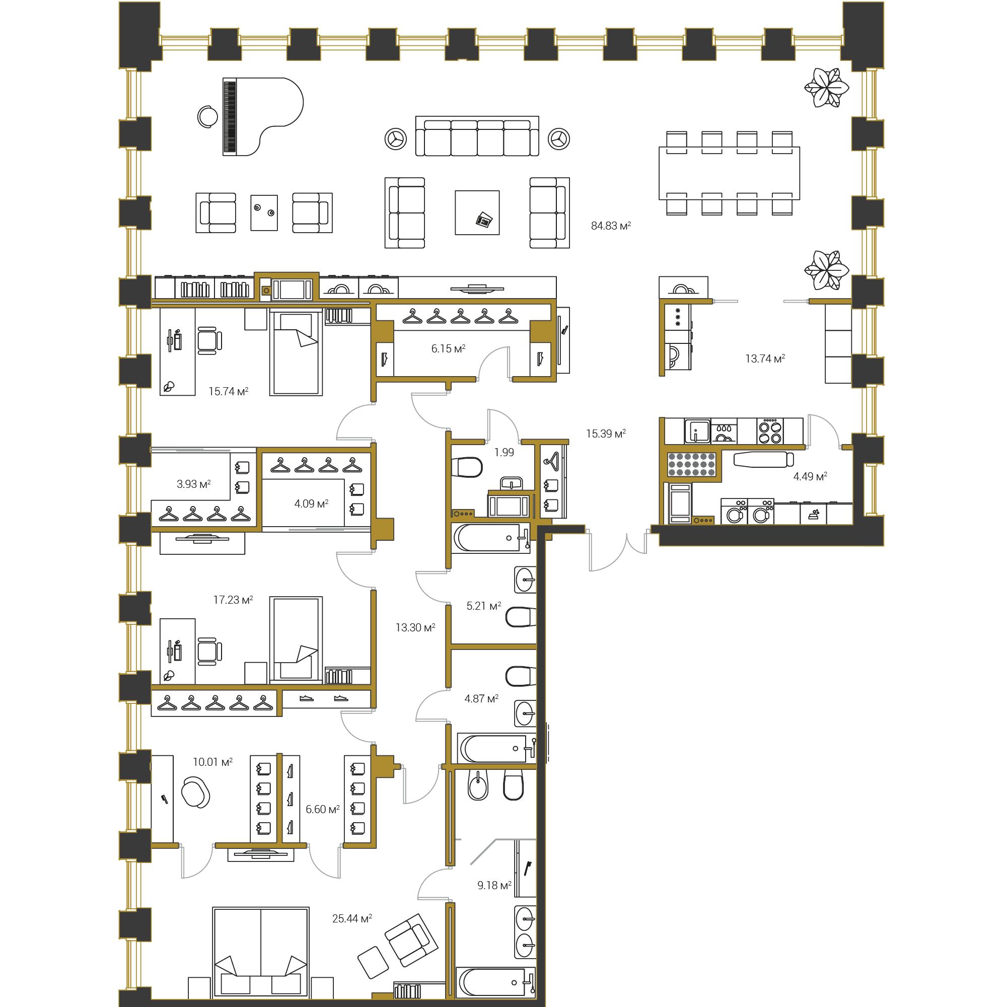 3-комнатная квартира, 242.19 м²; этаж: 20 - купить в Санкт-Петербурге