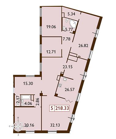4-комнатная квартира, 175.14 м²; этаж: 9 - купить в Санкт-Петербурге