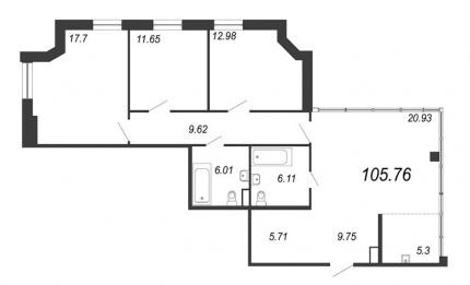 3-комнатная квартира, 105.76 м²; этаж: 12 - купить в Санкт-Петербурге