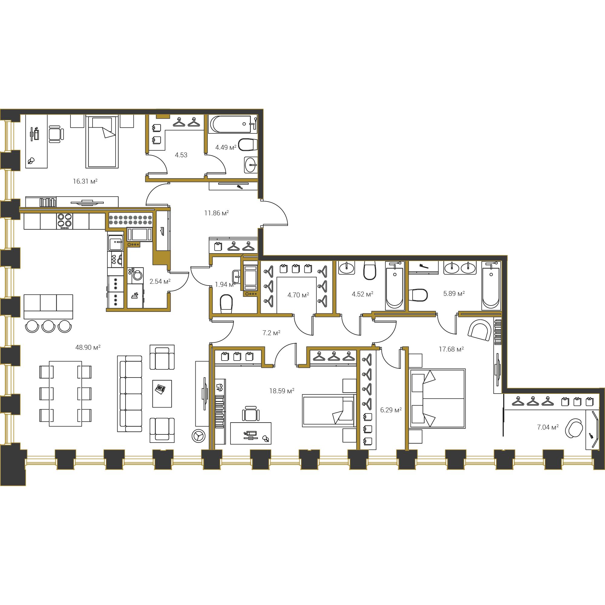 3-комнатная квартира, 162.54 м²; этаж: 20 - купить в Санкт-Петербурге