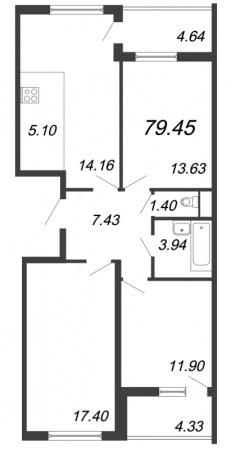 4-комнатная квартира, 79.45 м²; этаж: 15 - купить в Санкт-Петербурге
