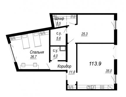 2-комнатная квартира №27 в: Meltzer Hall: 113.9 м²; этаж: 3 - купить в Санкт-Петербурге