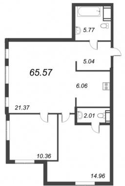 2-комнатная квартира №72 в: ID Moskovskiy: 65.57 м²; этаж: 9 - купить в Санкт-Петербурге