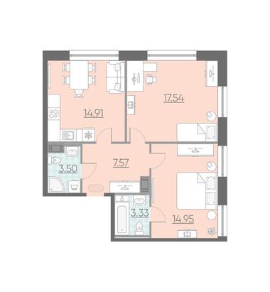 3-комнатная квартира, 61.8 м²; этаж: 5 - купить в Санкт-Петербурге