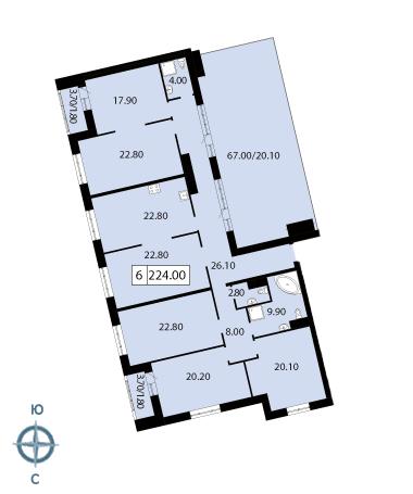 6-комнатная квартира, 225.3 м²; этаж: 12 - купить в Санкт-Петербурге