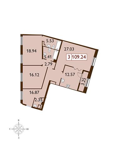 3-комнатная квартира, 109.24 м²; этаж: 7 - купить в Санкт-Петербурге