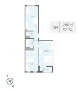 2-комнатная квартира, 56.34 м²; этаж: 14 - купить в Санкт-Петербурге