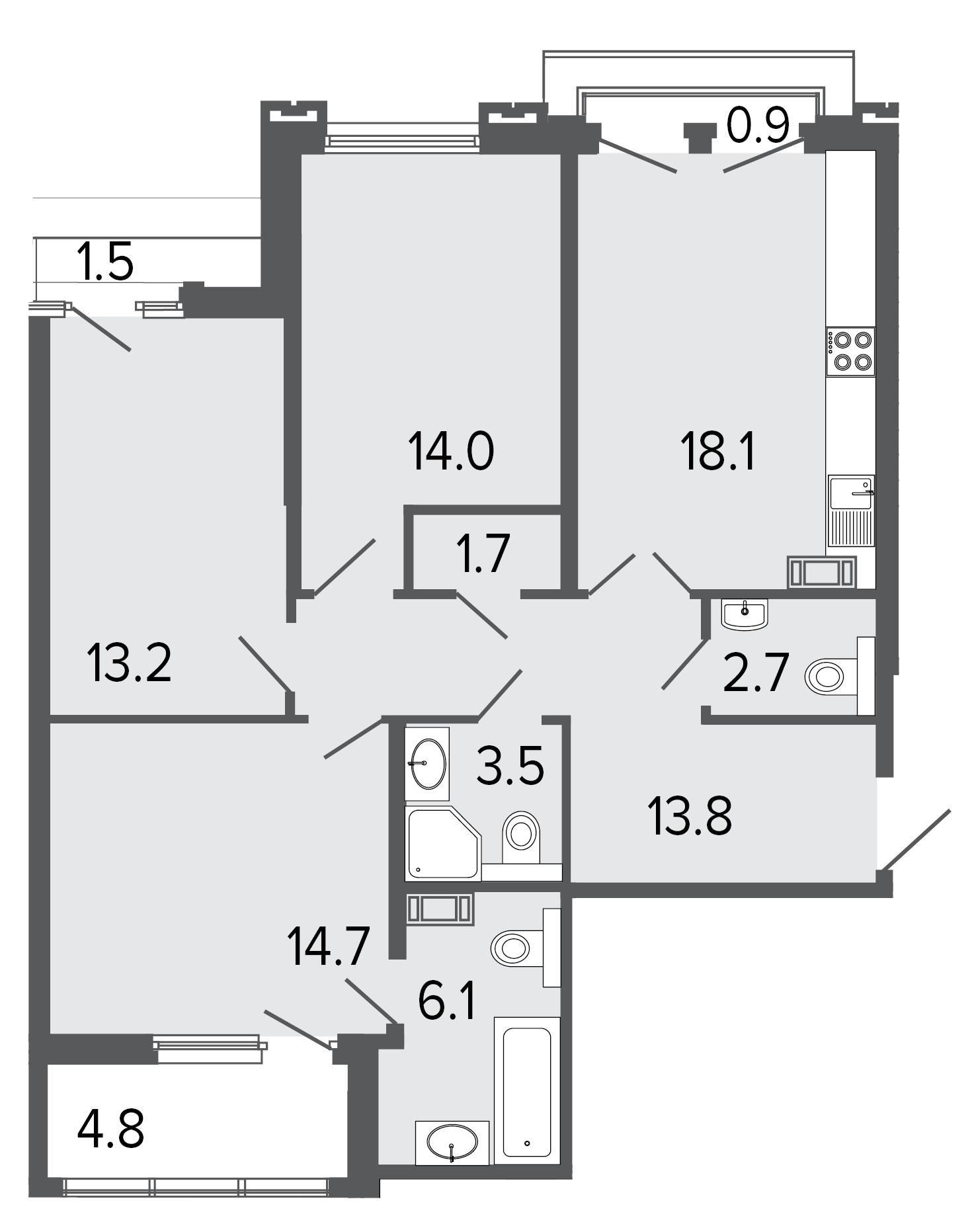 3-комнатная квартира, 87.8 м²; этаж: 7 - купить в Санкт-Петербурге