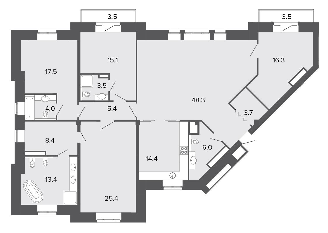 5-комнатная квартира, 181.4 м²; этаж: 3 - купить в Санкт-Петербурге