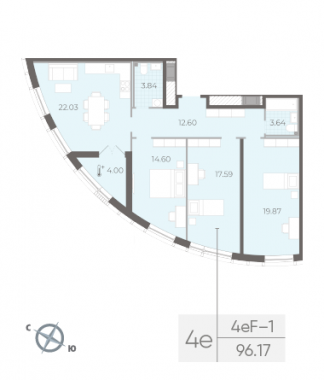 3-комнатная квартира №14 в:  Морская набережная.SeaView II очередь: 96.17 м²; этаж: 10 - купить в Санкт-Петербурге